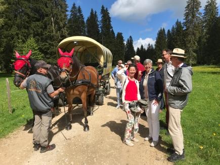 Clubreise 2018, Kutschenfahrt in den jurassischen Franches Montagnes